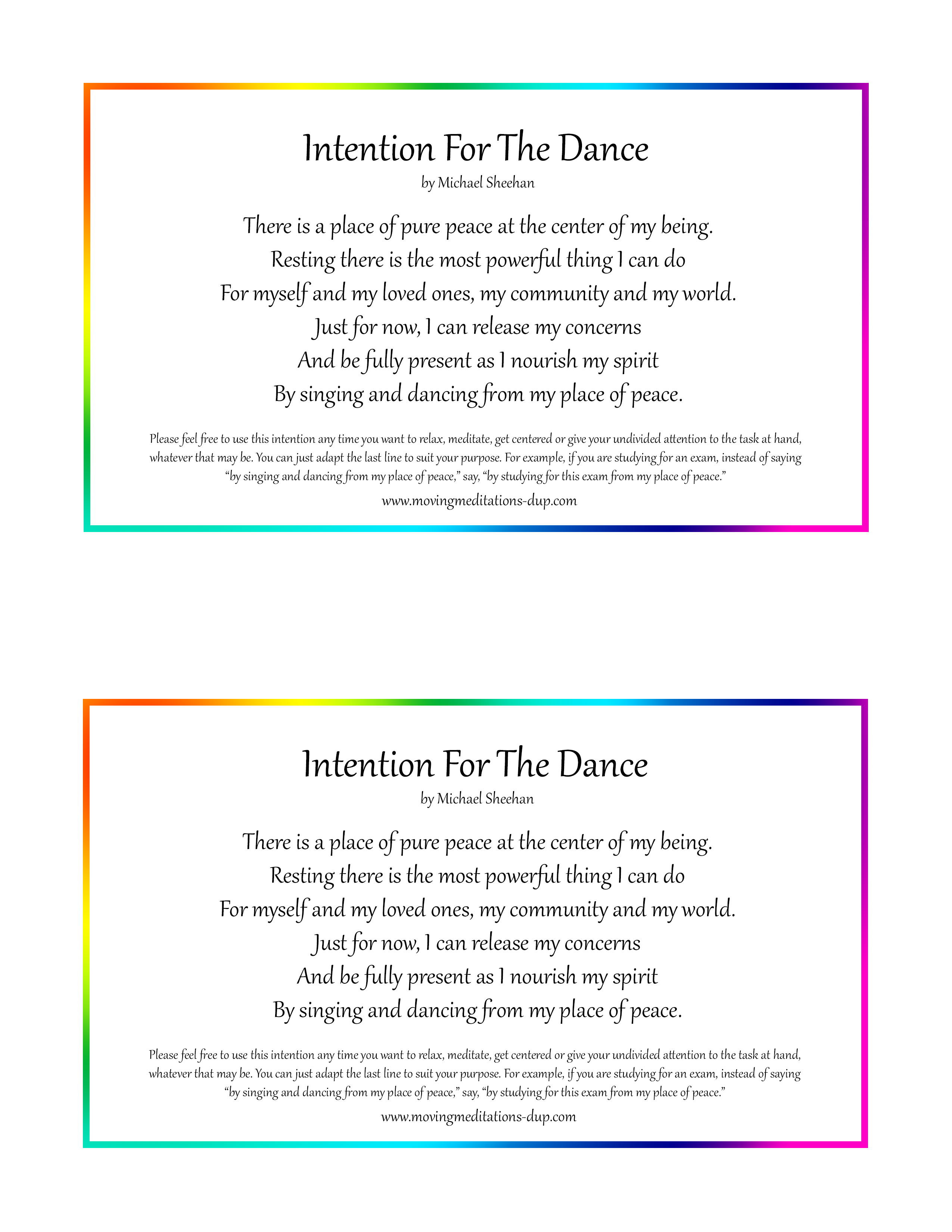 Intention For The Dance 3-2 Half Pages